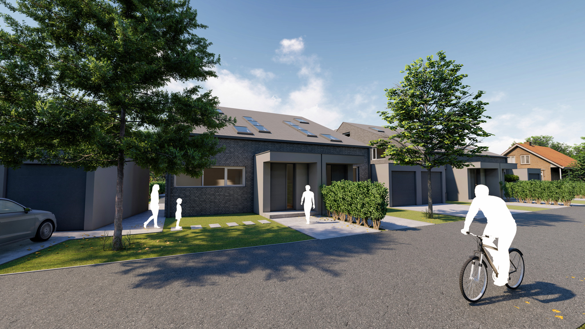 Neubau von vier Einfamilienhäusern